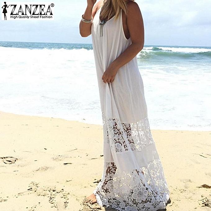 2d1786f09013 ZANZEA Women Lace Dress Summer Casual Loose Long Maxi Dress Sexy Beach  Dresses Sleeveless Solid Vestidos