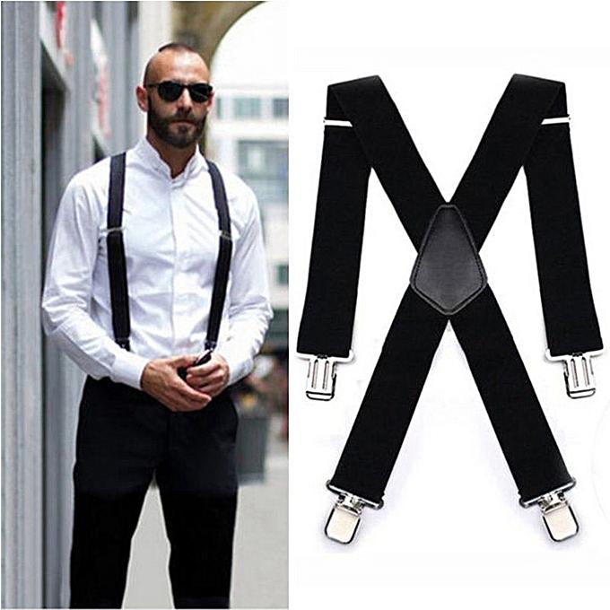 41d846f80 Fashion 120x5CM Black Adjustable Men Suspender Straps Four Clips ...