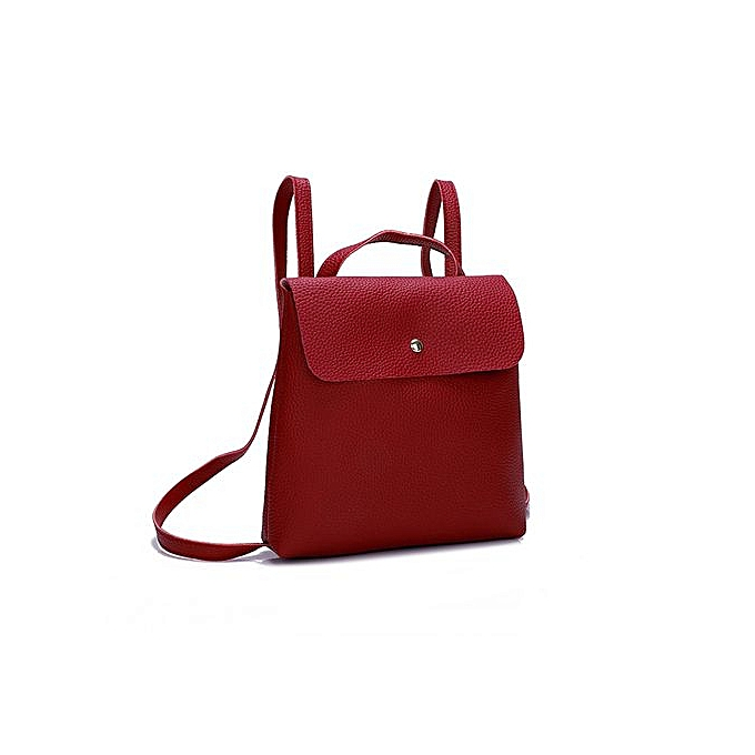 302e891fe838 ... Zetenis Fshion Women Girl Pure Color Leather Mini School Bag Backpack  Shoulder Bag -Red