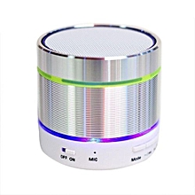Mini Bluetooth Speaker, S07D Mini Wireless Boombox Stereo Speaker Amplifier Portable Super Bass Handsfree Speaker LED Light(Silver)