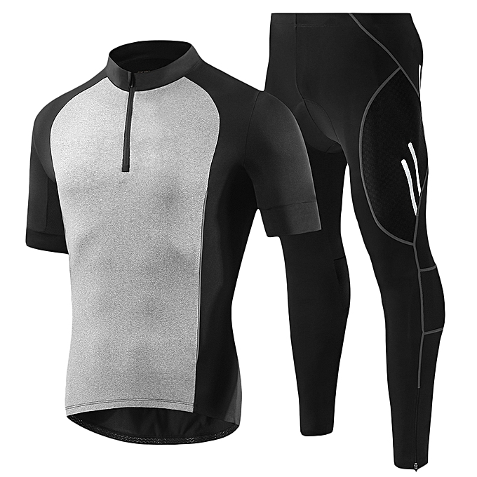 Bicycle Jersey Short Sleeve Sports Shirt Padded Bike Pants Men Cycling Set  - BLACK b36a221ae