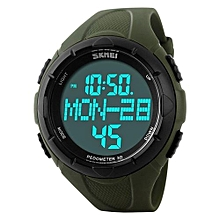 1122S Men Sports Luxury Brand LED Digital Watch Pedometer 3D Calories Military Watches - Green