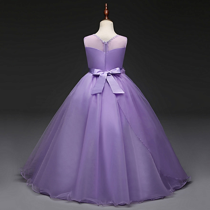 fbb0d9145027 Fashion new Retail Lace Flower Girl Dress Children Kids Beautiful Wedding Party  Dress Girl Formal Party Pageant Long Princess Dress-purple