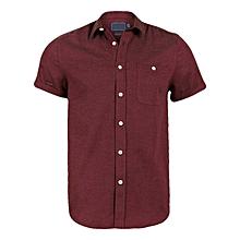 100% Premium Brushed Cotton Men's Shirt (Mulberry)