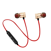 Sports Magnetic Bluetooth V4.1 Stereo Earphone with Microphone - Red