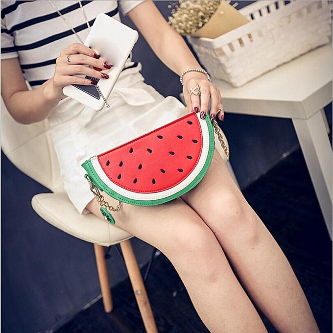 Hiamok Sweet Summer Bag Women Cute Fruit Packet Chain Shoulder Orange  Watermelon Bag GN dfaeba71bd