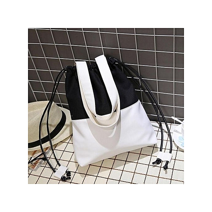 bluerdream-Women Fashion Hit Color Canvas Drawstring Bags Shoulder Bag  Casual Handbag BK- Black e35452074403