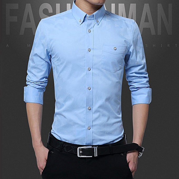 760d774f36436 Cotton Slim Fit Office Formal Shirts Men Long Sleeve Business Shirts (Sky  Blue)