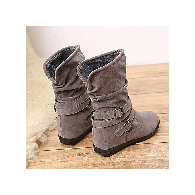 Xingbiaocao Ladies Womens Low Wedge Buckle Biker Ankle Trim Flat Ankle  Boots Shoes -Gray ... d089679cf16