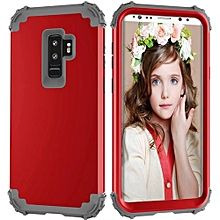 Olivaren For Samsung Galaxy S9Plus Armor Case Hybrid 3 Layers Rubber Cover -Red