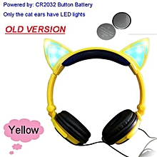 Foldable Flashing Glowing Cat Ear Headphones Gaming Headset Earphone With LED Light For PC Laptop Computer Mobile Phone Yellow