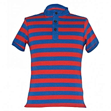 Red/Blue Mens Stripped Mandarin Collar T-shirts
