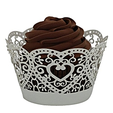 25pc Christmas Lace Laser Cut Cupcake Wrapper Liner Baking Cup Muffin -White