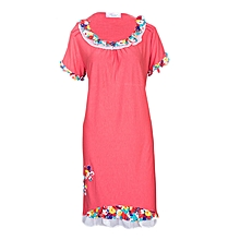 Night Dress With Floral and Lace Detail - Coral