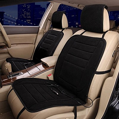 12V Car Seat Heat Cushion Plush Cover Electric Winter Pad 4 Colors Black