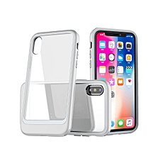 Transparent PC Full Coverage Shockproof Protective Case for iPhone X / XS (Silver)