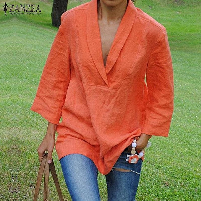 52e3f5e1514 ... US Womens Plus Size Lapel V Neck Stylish Loose Cotton Solid Blouse T-shirt  Tops ...