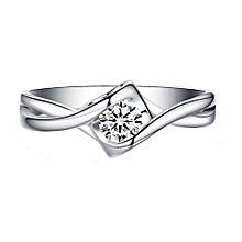 Fashion Heart CZ Twisted 925 Sterling Silver Ring Ring Size US 6