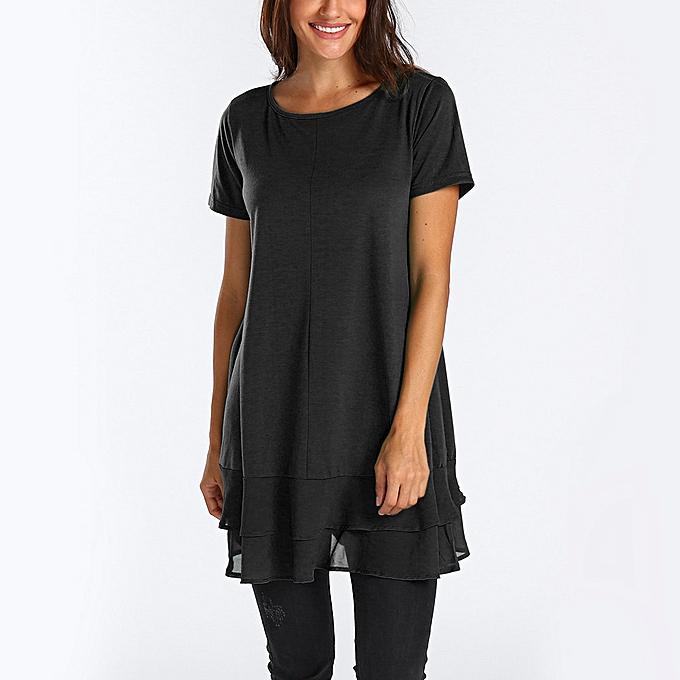 00da9f27278 Fashion Hiaojbk Store Women's Short Sleeve Tunic Tops Round Neck Chiffon  Hemline Loose Blouses-Black. By Fashion