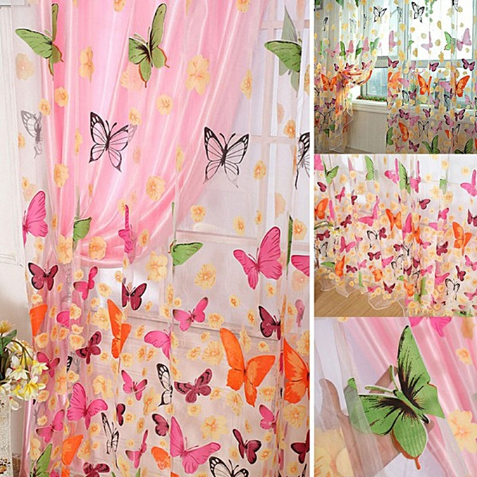 Liplasting Floral Butterfly Sheers Curtains Voile Tulle