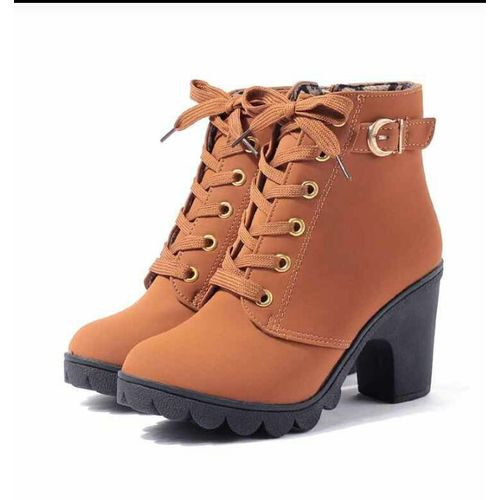 Fashion Women Chunky Block High Heel Ankle Boots