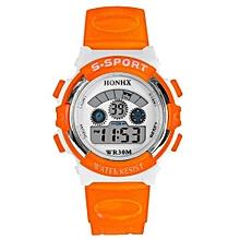 Unisex Orange Rubber Strap Sport Watch