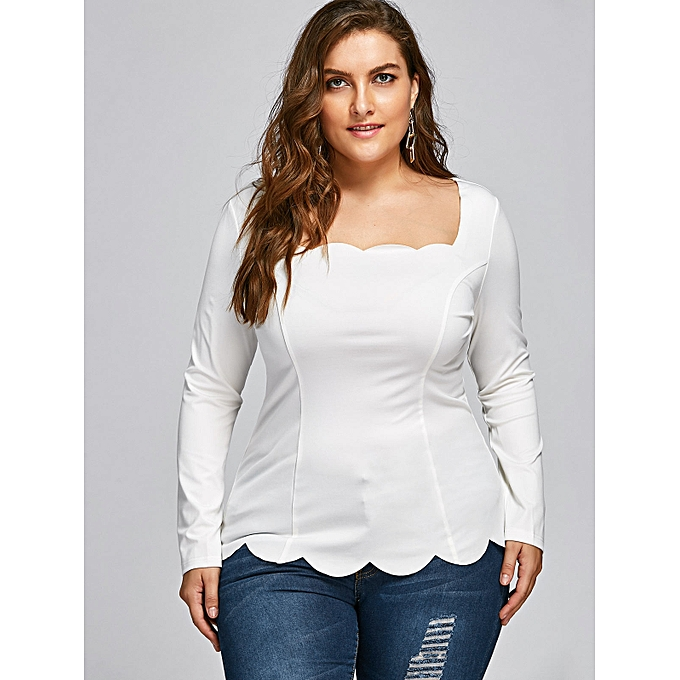 f7f320d76b128f Fashion Plus Size Scalloped Square Neck Long Sleeve Top - WHITE ...