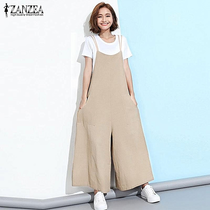 ba70f077a01 ZANZEA ZANZEA Fashion Women Casual Loose Jumpsuits Wide Leg Rompers  Playsuits Overalls(Khaki)