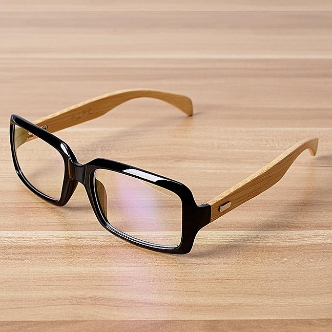 ab7f46b3eea1 Fashion Bamboo Rectangle Glasses Frame Eyewear Frames For Women Men ...
