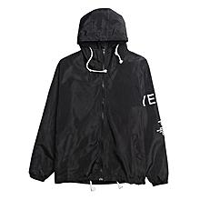 Men Casual Hoodie Long Sleeve Letter Print Lightweight Anti-Sun Jacket-Black