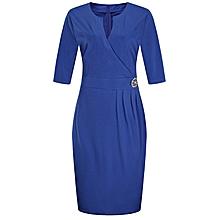 Women's Big size /Plus size V neck pencil dress