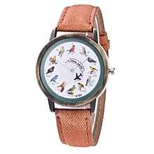 Watch Fashion Women's Watch Silicone Printed Flower Causal Quartz Analog Wrist Watches-coffee