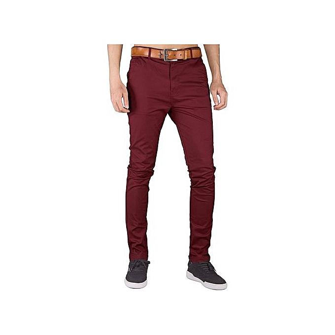 Mens Fashionplus Chinos Trouser Pant Maroon Stretch Slim Fit