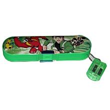 Ben10 Plastic Pencil Case + Sharpener  - Green