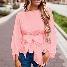 ZANZEA Solid Shirts Bowknot Crop Tops 3/4 Sleeve Lace-up Bow Casual Slim Blouses Pink