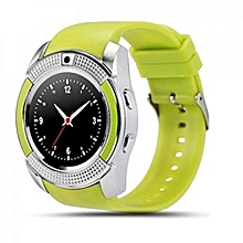 V8 Touch Screen Sports Round Screen Smart Phone Watch - Green
