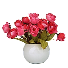Simulation Silk Flowers Camellia Sasanqua Artificial Flowers Set With Round Vase,wine Red