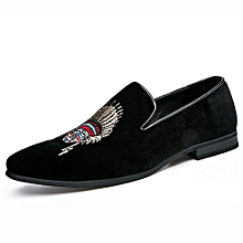 Embroidery Men Formal Moccassins Fashion Casual Shoes Loafers (Black)