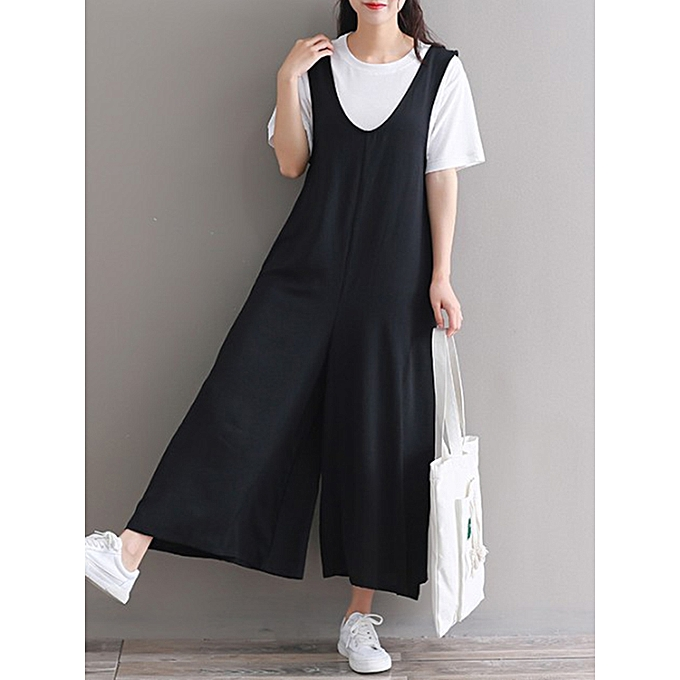 ff830844fc Fashion Casual Women Wide Leg Solid Sleeveless Jumpsuit   Best Price ...