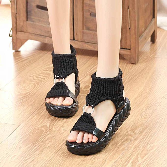 9381885d314 Fashion husksp Women Ladies Summer Fashion Platform Sandals Comfort Big  Size Casual Shoes-Black