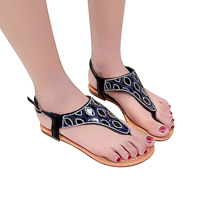793e18d4f8a3 Technologg Shoes Women Roman Flats Flip Flops Crystal Ladies Sandals Shoes  Bohemian Beach Sandals-Black