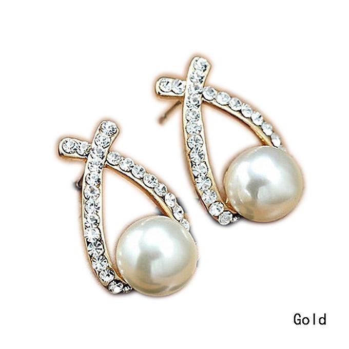 Fashion Jewelry 1 Pair Women Elegant Cross Crystal Rhinestone Pearl Ear Stud Earrings Gift