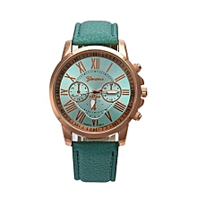 Fohting Vogue Geneva Roman Numerals Faux Leather Analog Quartz Wrist Watch Mint - Mint