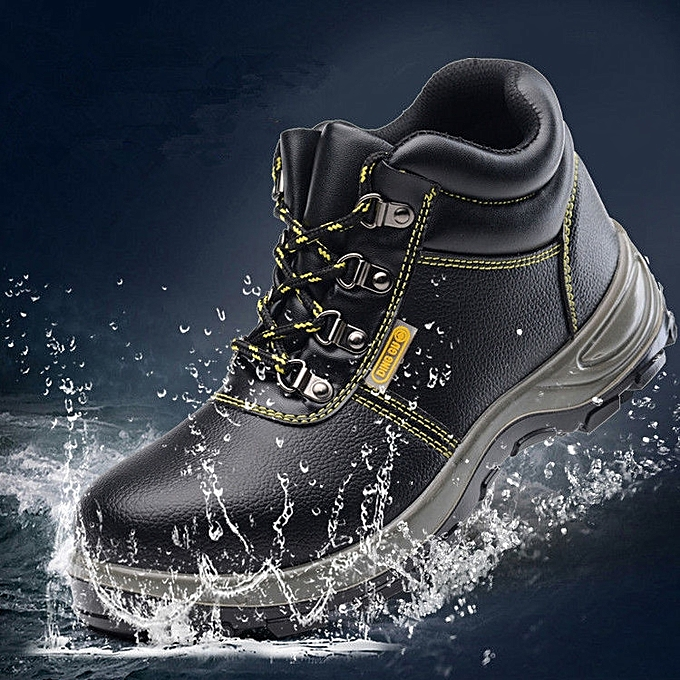 180e536b3bb Mens Leather Steel Toe Safety Shoes Work Welding Boots Hiking Hunting Boots
