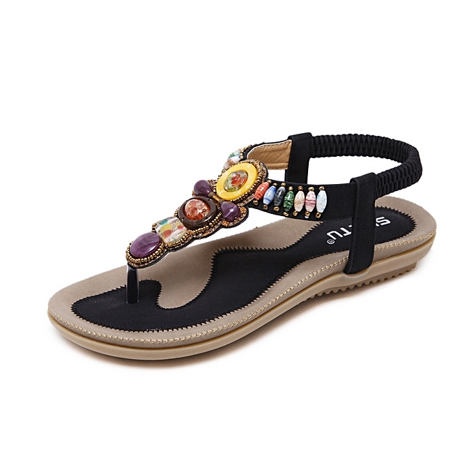 3eefdc7105be New Large size women s sandals Bohemian beaded flat fashion beach shoes for  women -black