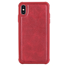 Magnetic Shockproof TPU + PC + PU Leather Pasted Case for iPhone XS Max (Red)