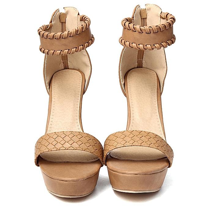 d243aa5f005 ... Fashion Womens Ankle Strap Platform High Heel Sandals Casual Knit Weave  Peep Toe Shoes-EU ...
