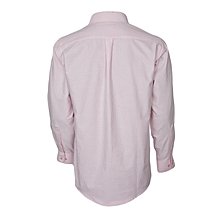 White & Pink Striped Long Sleeved Shirt