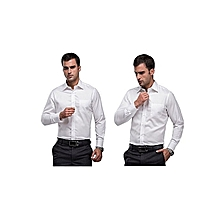 Shirts for Men - 3 pack Black White Blue  - Slim Fit Formal Shirts Long Sleeve Official Button down 100% Cotton
