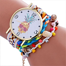 Technologg Watch  Stylish Pineapple Printing Leather Bracelet Lady Womans Wrist Watch WH-As Show